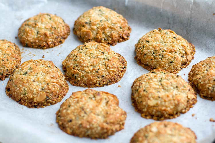 Baked paleo biscuits with hemp seeds