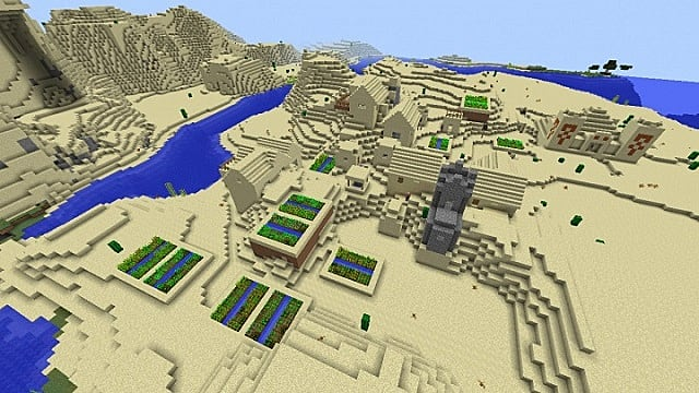One of the best desert temple Minecraft seeds with water and more.