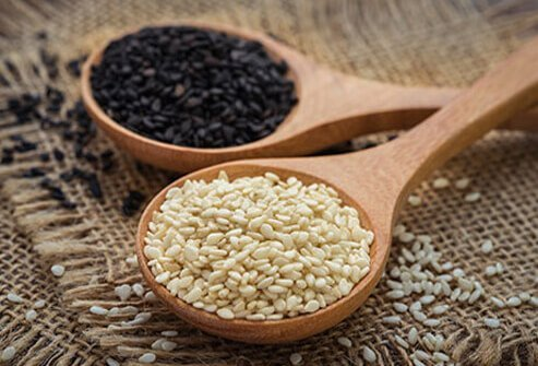 Despite their tiny size, sesame seeds contain up to 20% protein and lots of fiber.