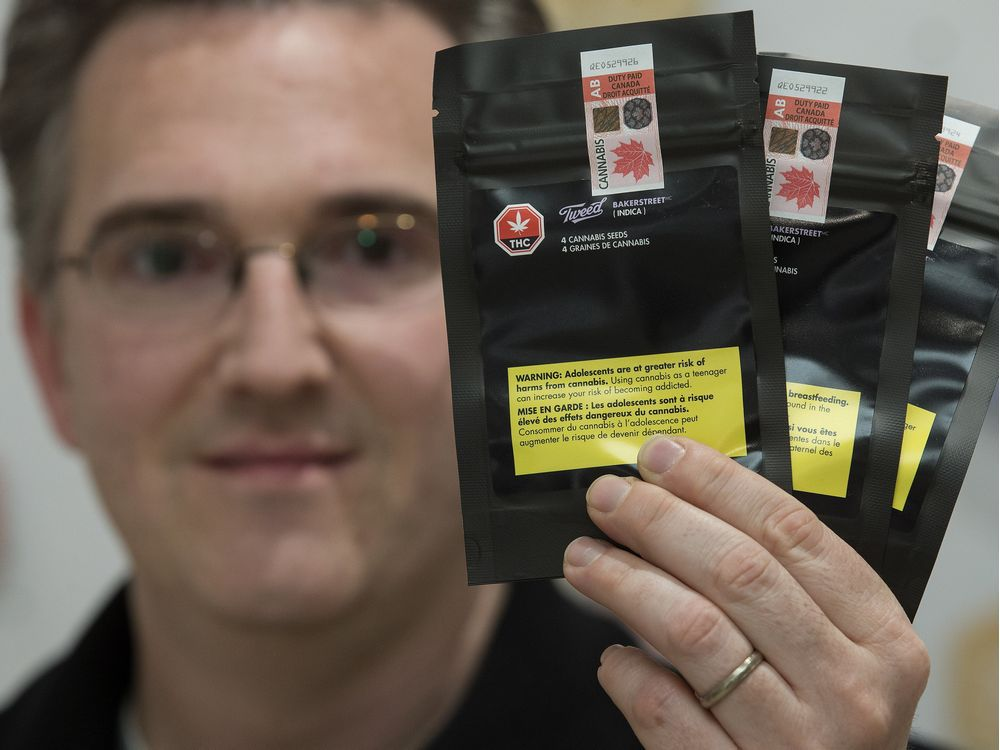 Rob Cherry, vice-president and general merchandise manager at Fire and Flower, holds packages of cannabis seeds at the Fire and Flower location in Sherwood Park on Thursday, March 28, 2019.